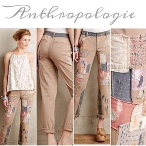 Anthropologie Pilcro Hyphen Patchwork Paint Pant